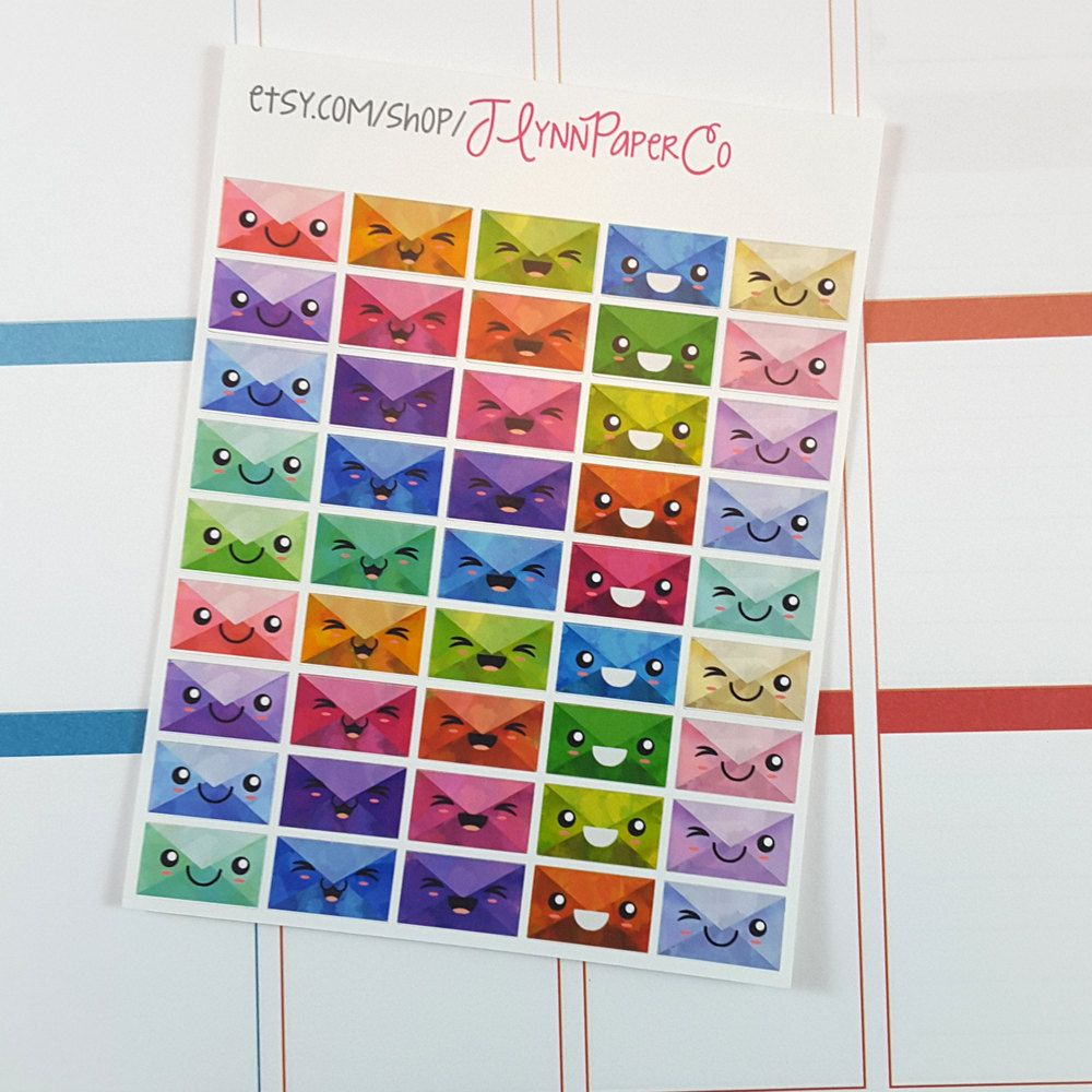 New to JLynnPaperCo on Etsy: 45 Kawaii Envelope Stickers Rainbow Mail Stickers Happy Mail Cute Stickers Planner Stickers Pretty Colorful Erin Condren ECLP (2.00 USD)