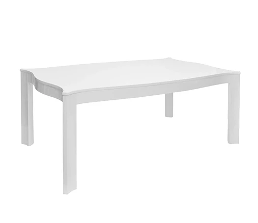 Rectangular Dining Table With Scallop Edges In White Lacquer