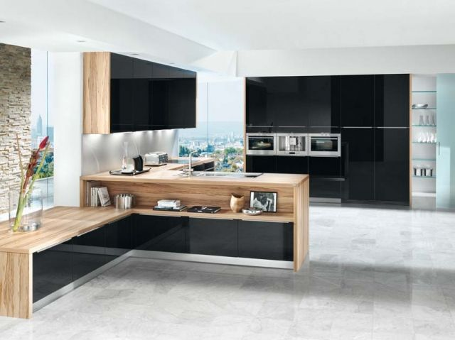 Best Kitchen Shown In Black Acrylic Gloss Finish With Light 640 x 480