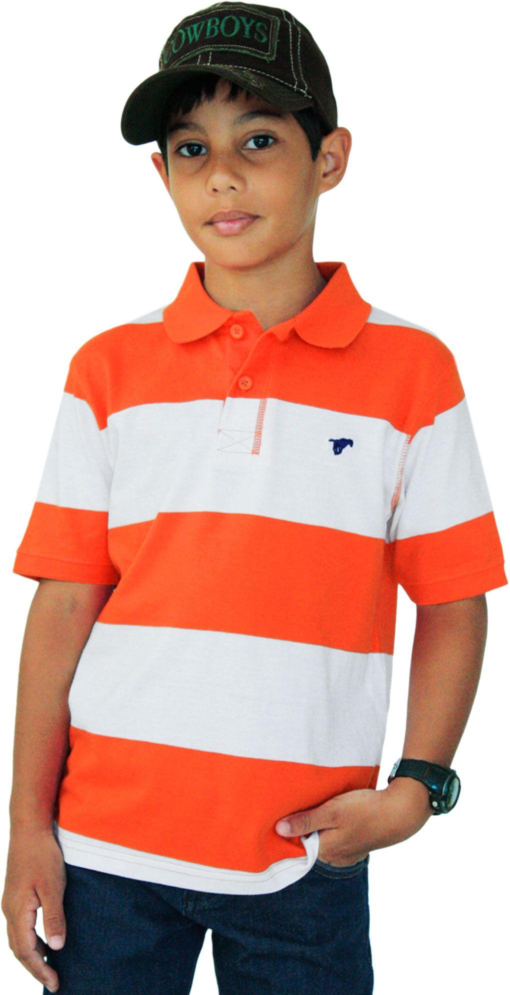 dc654223a2 Camiseta Polo Infantil Listrada Wrangler Camiseta polo infantil listrada na  cor laranja e branco. Desenho
