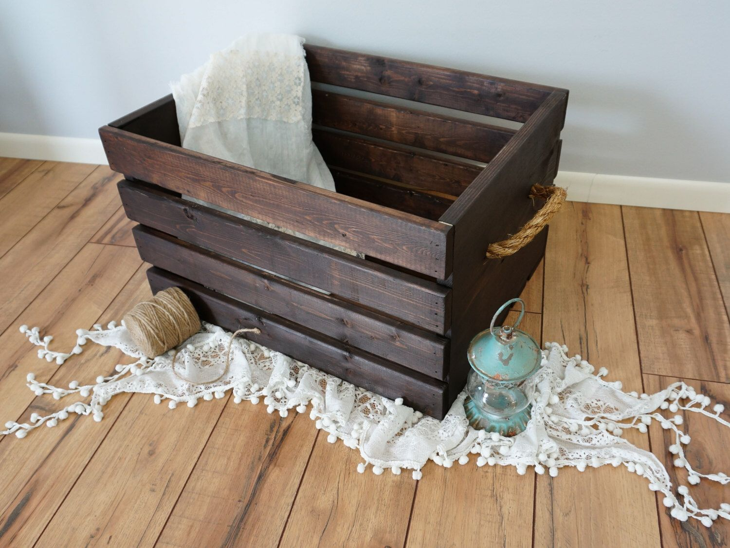 Rustic Wood Crate With Rope Handles Extra Large 24x18x11 75 By  # Meuble Tv Oldy