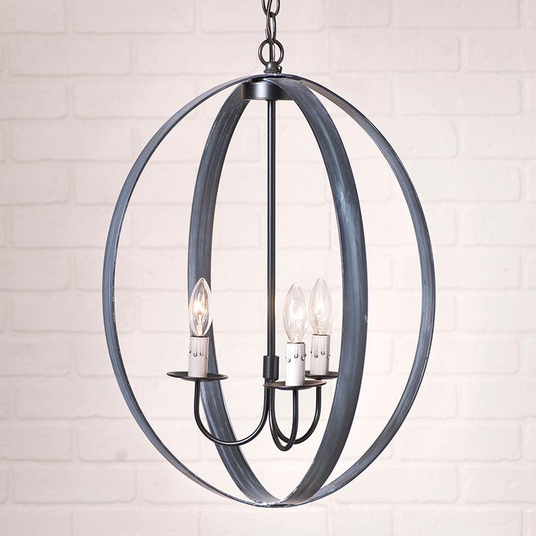 20inch oval sphere farmhouse chandelier in black globe