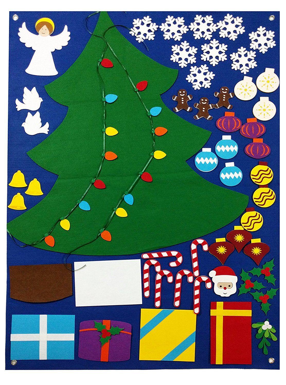 Amazon Com Felt Christmas Tree Wall Decoration Set Flannel Storyboard Giant 3 5 Ft Premium Quali Felt Christmas Tree Winter Ornaments Christmas Trees For Kids
