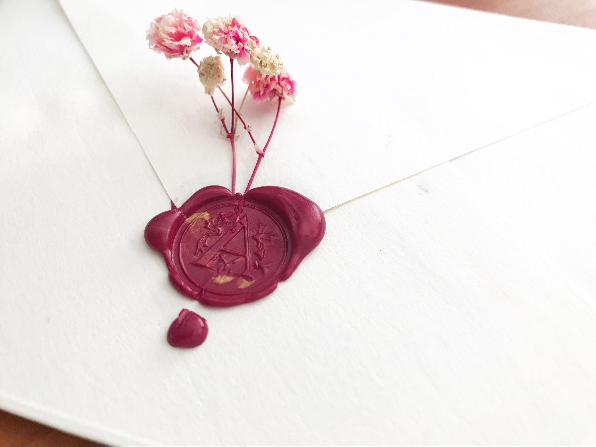 A Dry Flower Envelope Flower Stamp Flower Stationary Wax Stamp
