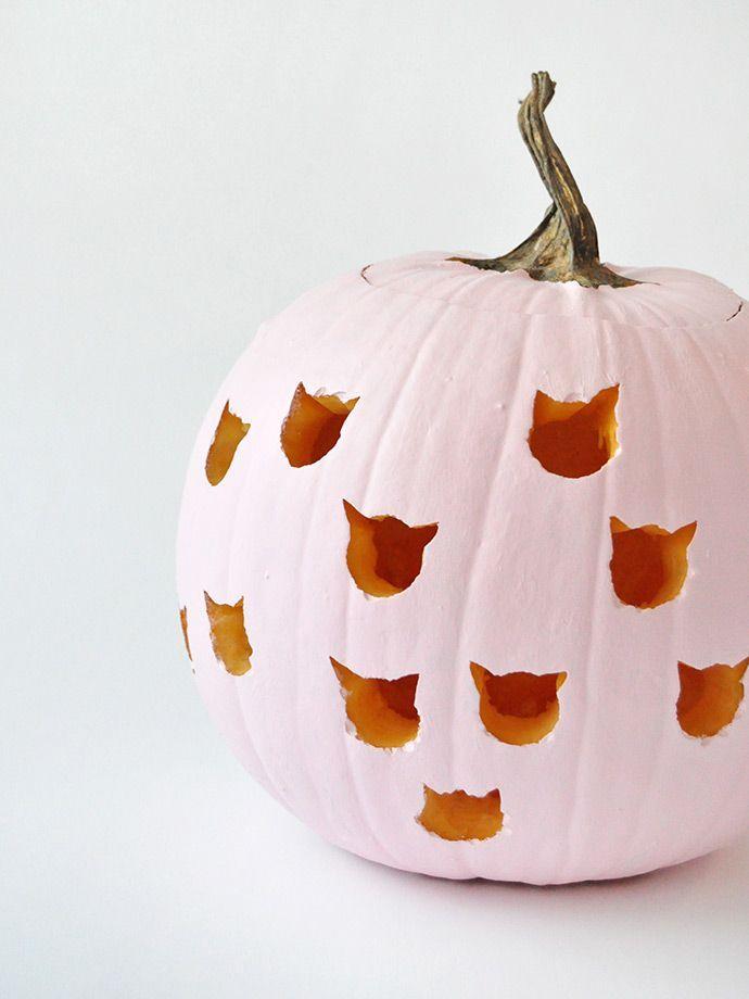 DIY Cat Drilled Pumpkins Autumn * Fall * Halloween * Thanksgiving