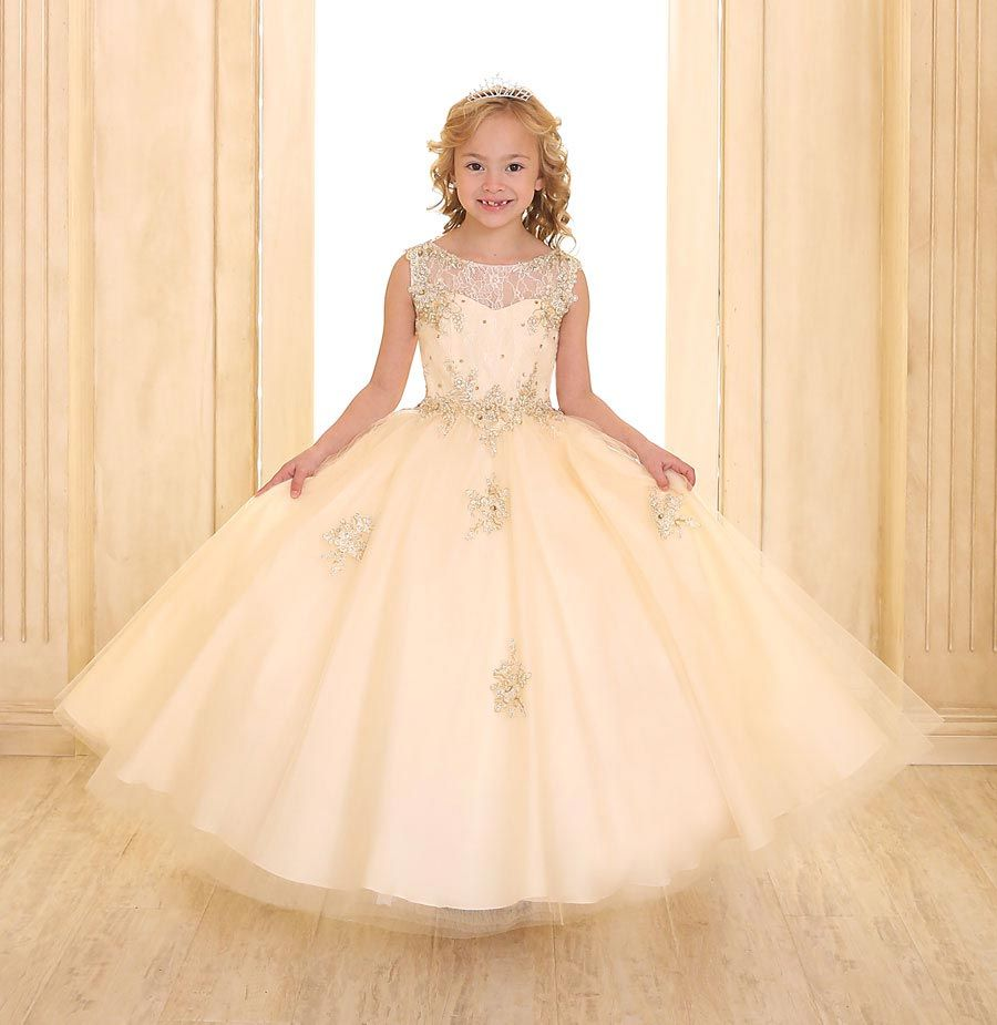 Girls dress style sy champagne sleeveless embroidered dress