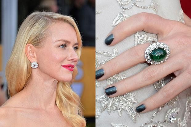 SAG Awards 2013: Naomi Watts  Naomi stunned in Faberge jewels (remember? Faberge is making a comeback.) We loved her silver thread embroidered Marchesa gown and the diamond cluster earrings she chose nicely accented the gown's crystal embellishment. Naomi also added a pop of color with an Emerald Cabochon ring surrounded by more diamonds.