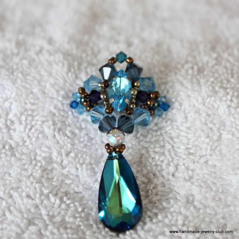 Blue ocean pendant tutorial beaded earings pinterest jewelry blue ocean pendant tutorial aloadofball