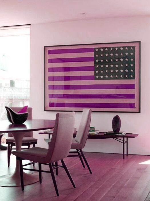 Photo of Gothic Home Decor gorgeous framed American flag in contemporary dining room.Goth…