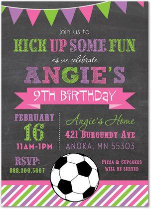 Pink  Purple Stripes Soccer Chalkboard Girl Birthday Invitations