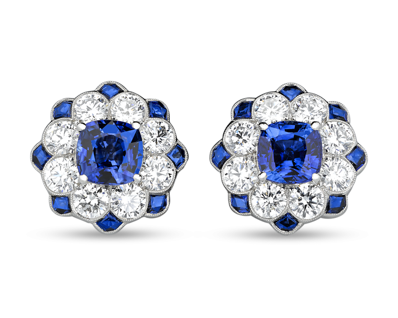 Blue Sapphire And Diamond Earrings 2 54 Carats With Images Diamond Earrings Studs Sapphire And Diamond Earrings