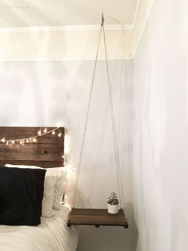 Rustic Headboard With Hanging Bedside Table Diy Furniture Bedroom Bedroom Diy Home Decor