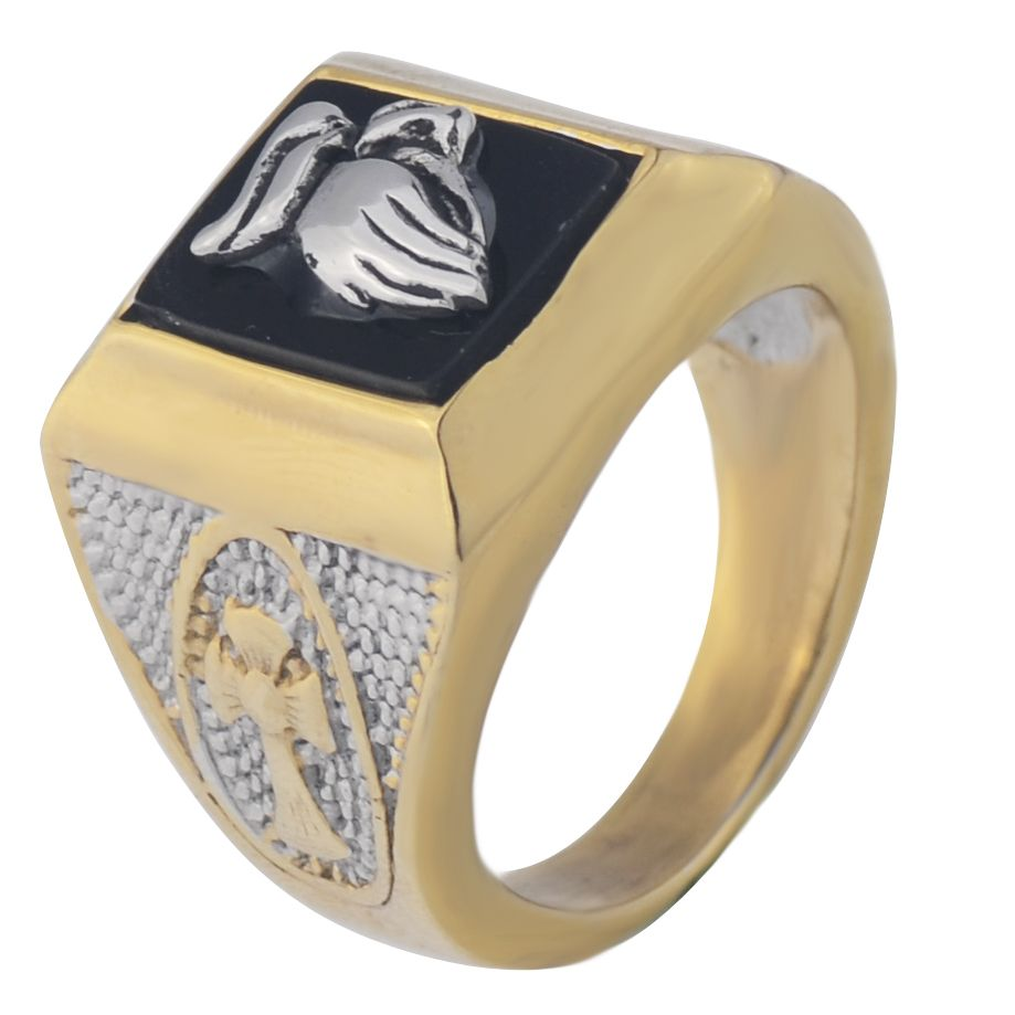 Prey Wedding Ring.Men S Gold Color Square Black Onyx Prey Hand Gesture Cross Ring