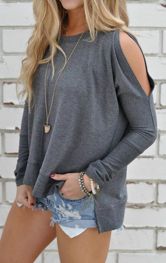 Casual knit tee detailed with solid color, open shoulder design, side slit and high low design.