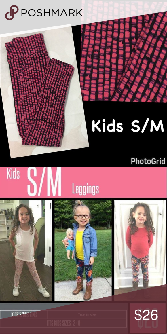 67b0a2d24 🆕LuLaRoe Kids SM/MD Gray Leggings. 🆕LuLaRoe Kids SM/MD Pink w/Purple &  Black Lined Leggings. Buttery soft!!Please see the photo size chart to help  with ...