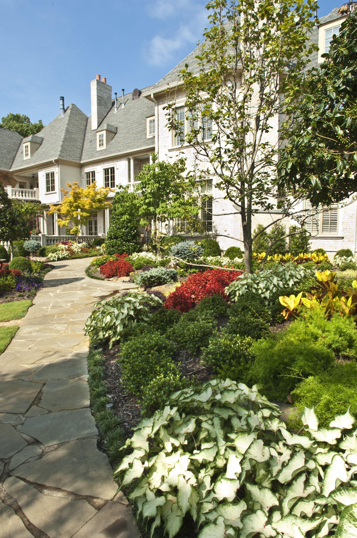 Backyard Landscape Walkways W Seasonal Color By Gurley S Azalea Garden Inc Memphis Tn Www Gurleysmemphis Azaleas Garden Landscape Backyard Landscaping