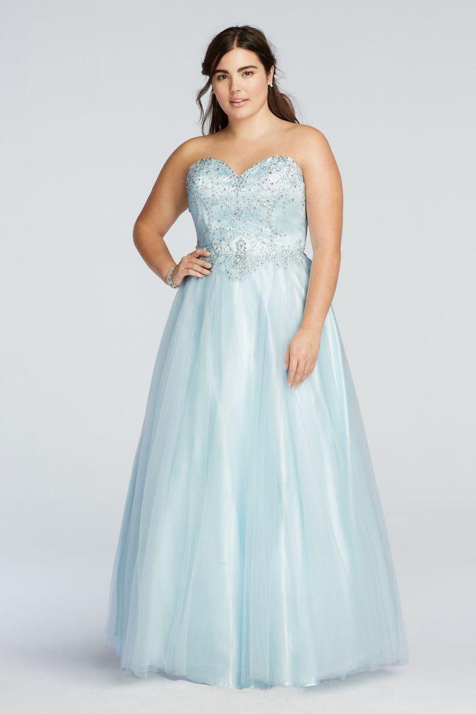 Plus Size Crystal Beaded Drop Waist Tulle Prom Dress - Ice Blue, 2X ...