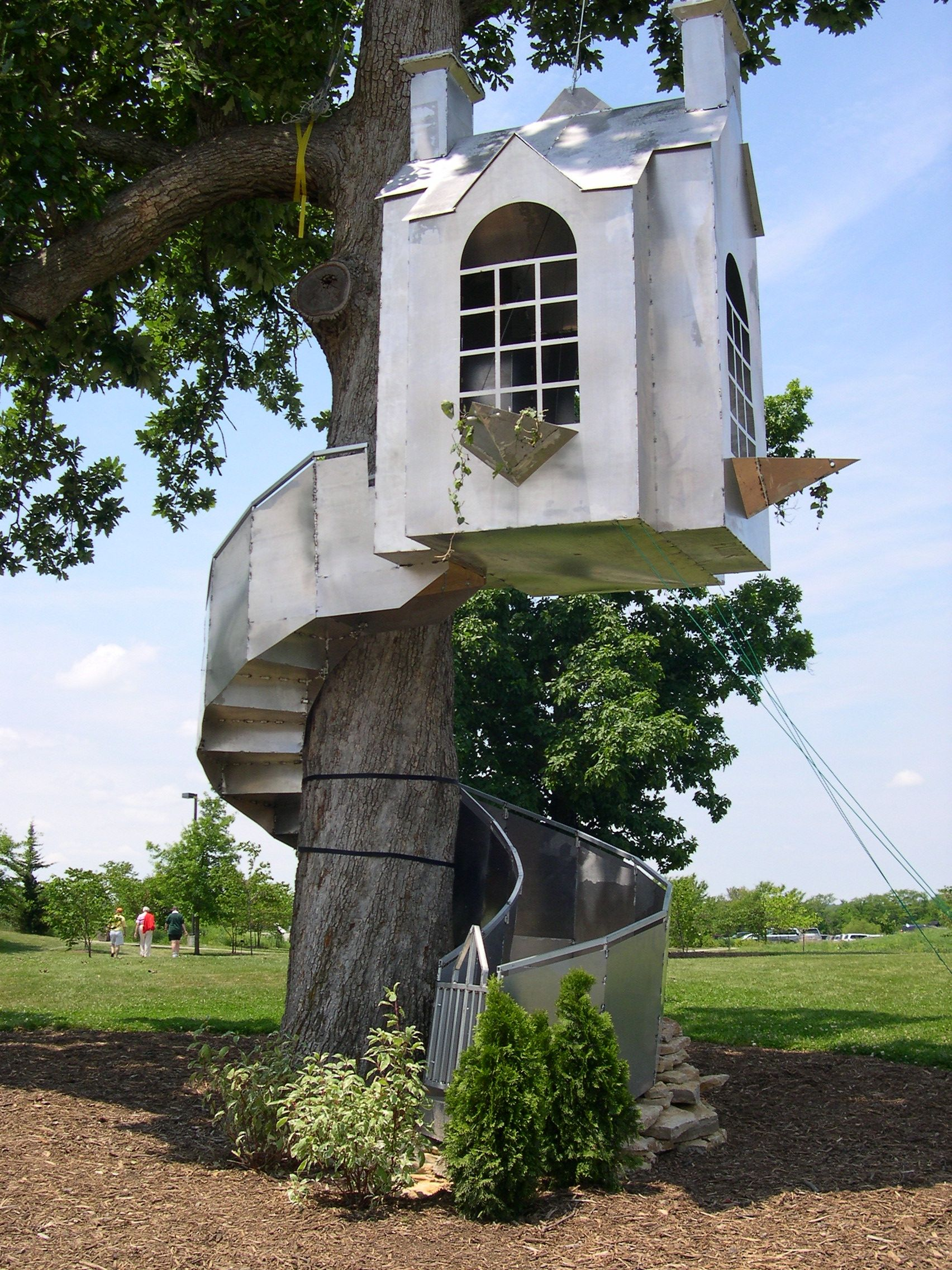 Tiny House Treehouse Stairs Spiral Around The Tree, Up To