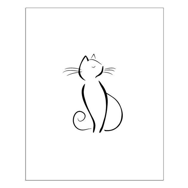Black Line Drawn Cat Silhouette Cat Silhouette Tattoos Cat Tattoo Designs Silhouette Tattoos