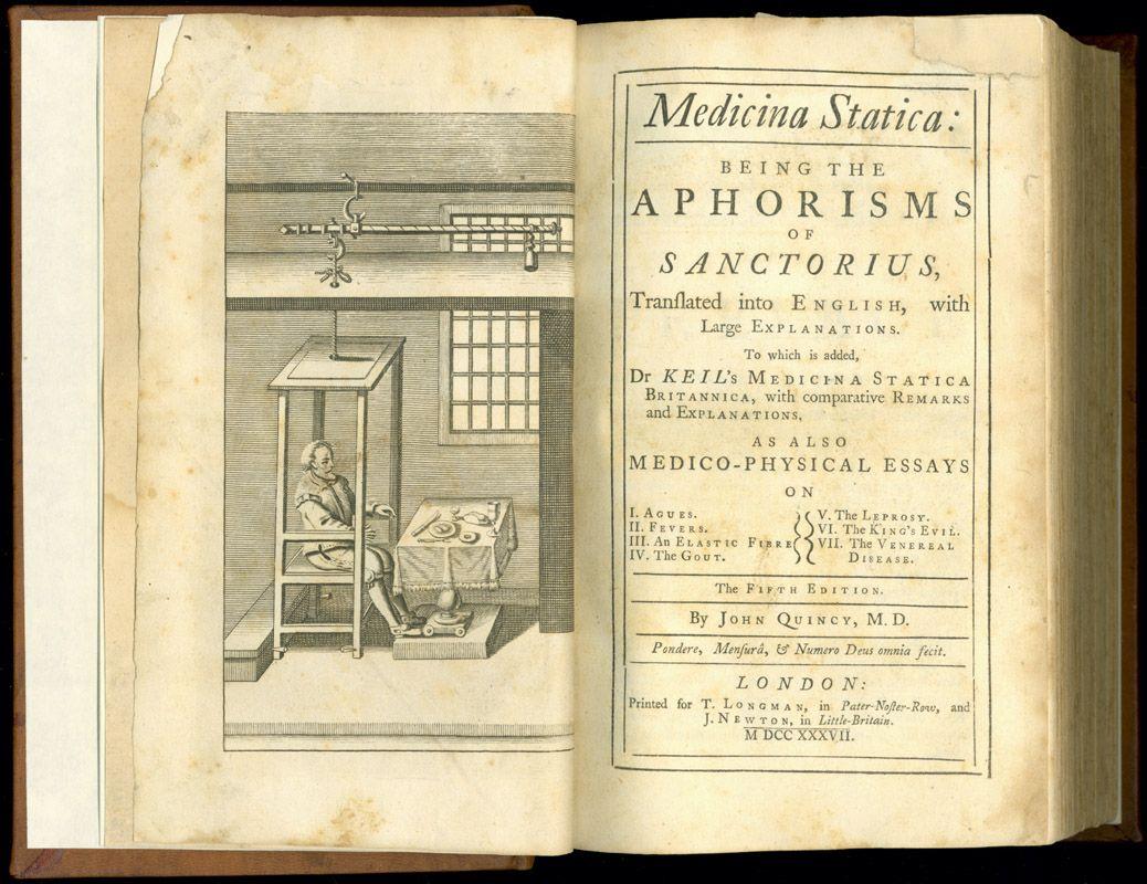 Santorio Santorio, Medicina statica….1737 volume