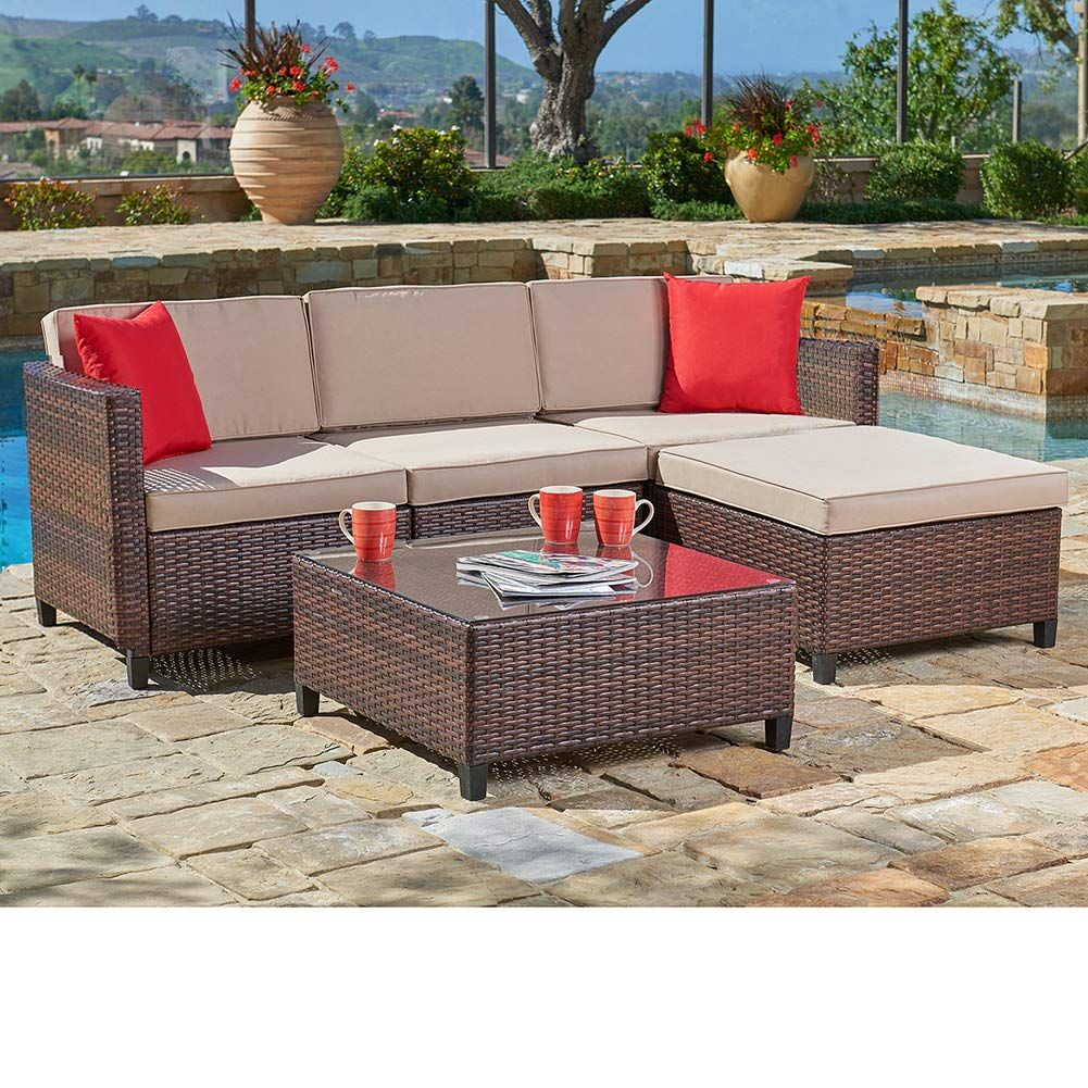 Suncrown Outdoor Sectional Sofa 5piece Set Allweather Brown