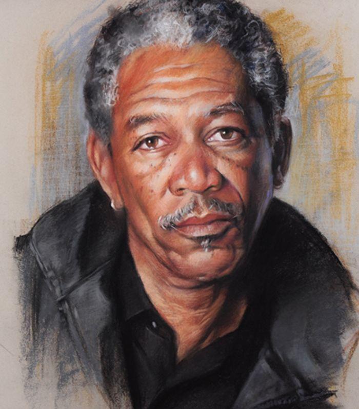 """THE ACTOR"" by ~AbdonJRomero on deviantART [Morgan Freeman portrait] #Art #CelebrityArt  #MorganFreeman"