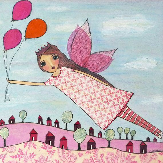Fairy Art Fairy Print  Flying Fairy Art Print  Nursery por Sascalia