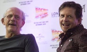Michael J Fox and Christopher Lloyd at a Back to the Future event in London.