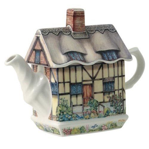 James Sadler Anne Hathaway's Cottage teapot ... in shape of English Tudor house or cottage, ceramic, UK