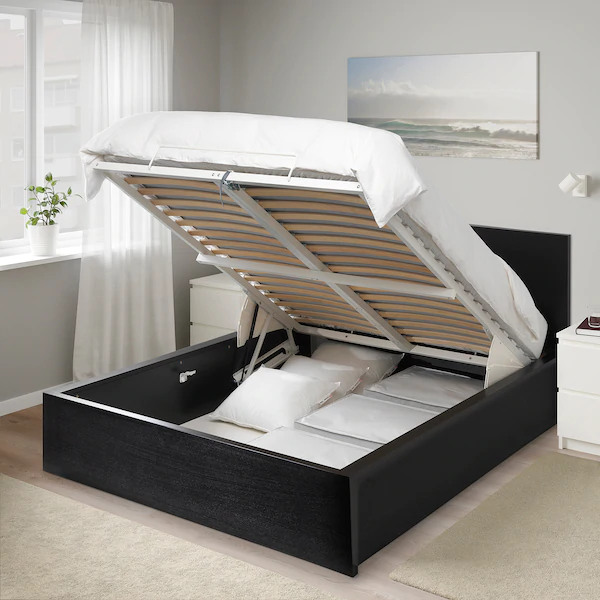 Malm Storage Bed Black Brown Full, Ikea Malm Black Brown Queen Size Bed Frame