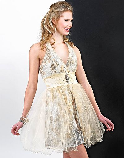 Landa Cream Sequin and Tulle Short Prom Dress ED347 image | FAIRY ...