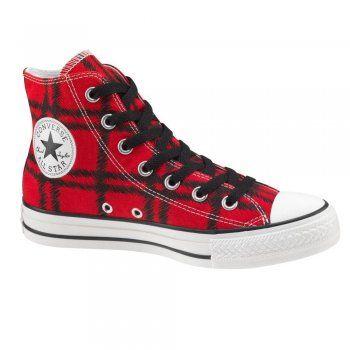 Converse Red All Star Check Printed Punk Plaid Canvas Hi Top