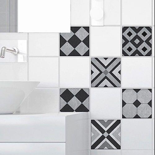 carrelage de salle de bain personnalisé avec des adhésifs imitation
