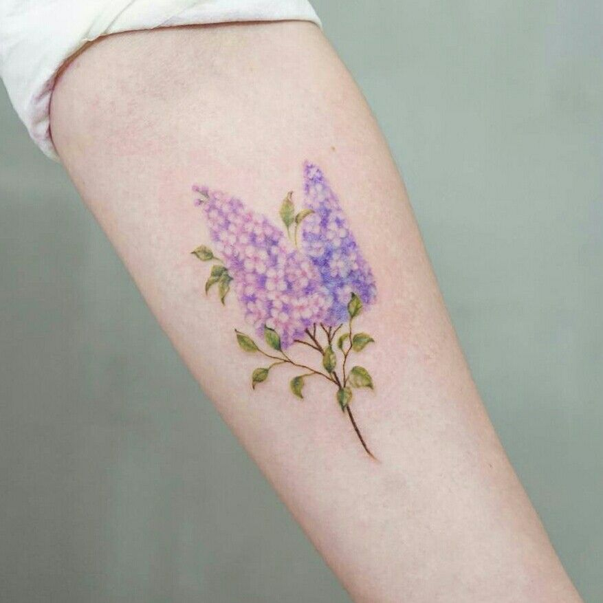 Much smaller Lilac tattoo, Body art, Small forearm tattoos