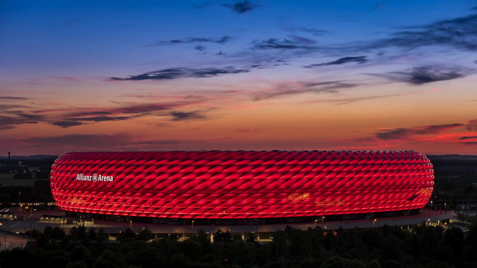 The beautiful Allianz Arena in Munich during evening