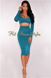 Emerald Textured Long Sleeves Two Piece Set
