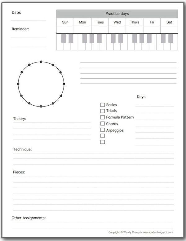Piano Escapades Assignment Sheet Template  Piano