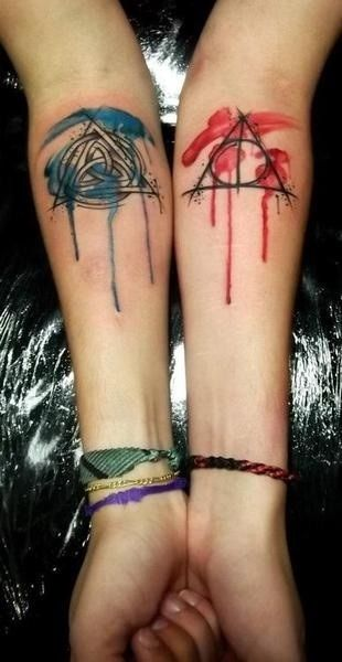 Love The Watercolor Idea With The Deathly Hallows Symbol Tattoos