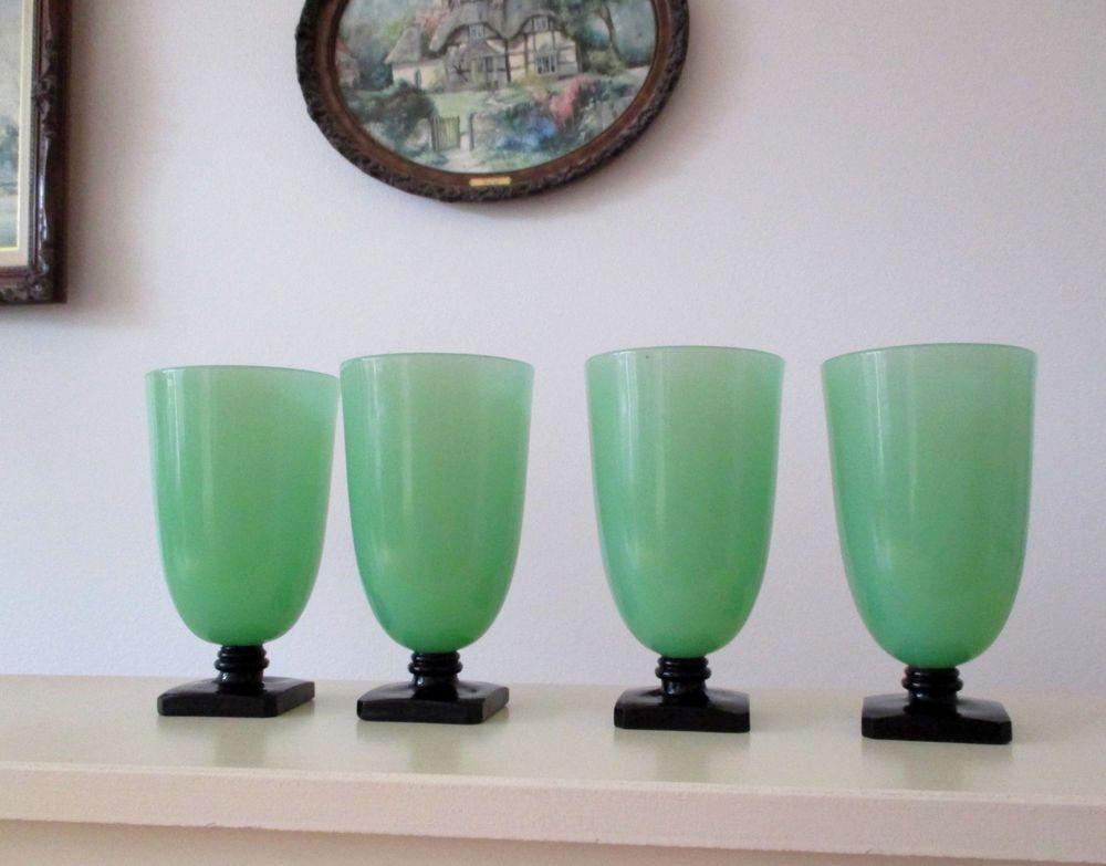 4 McKee Art Deco Clico Tumbler Goblet Jadeite Jade Green Black 1930s Glasses Lot #ArtDeco