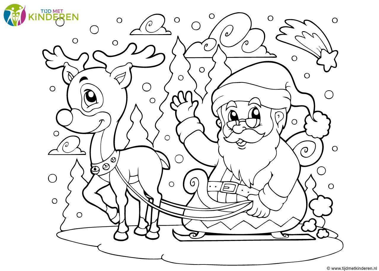 15 Gewoon Vrijgeven Kleurplaat Kerstman En Rendier Double Frisson