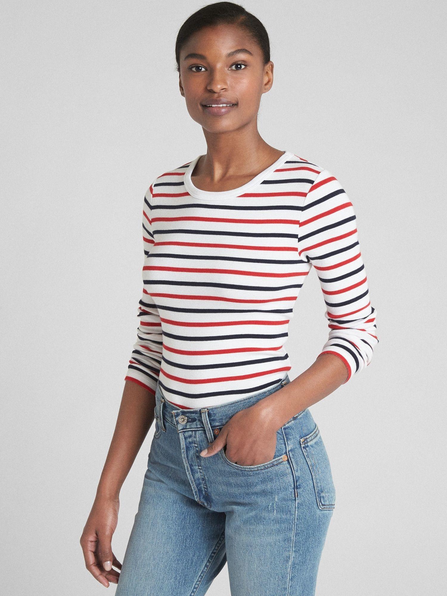 38d6e388 Modern Long Sleeve Stripe Crewneck T-Shirt | Gap | Tops | T shirt ...