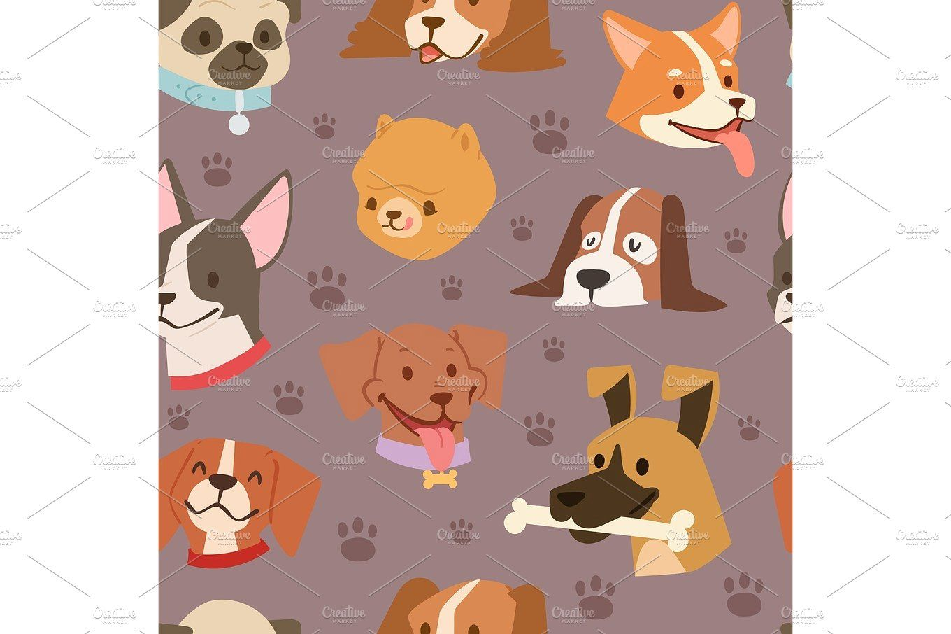 Dogs Heads Seamless Pattern Background Vector Vector Background Pattern Background Patterns Dog Background