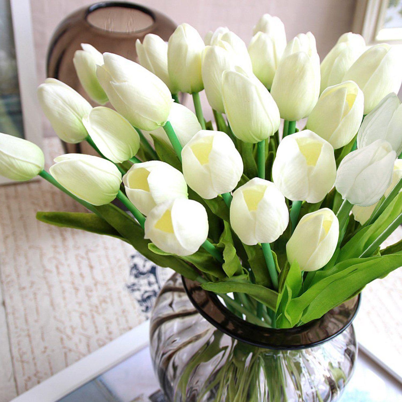 Amazon Com Home Decor 12pc X2f Set Pu Stunning Holland Mini Tulip Flower Real Touch Weddin Artificial Flowers Real Touch Wedding Flowers Wedding Decor Vases