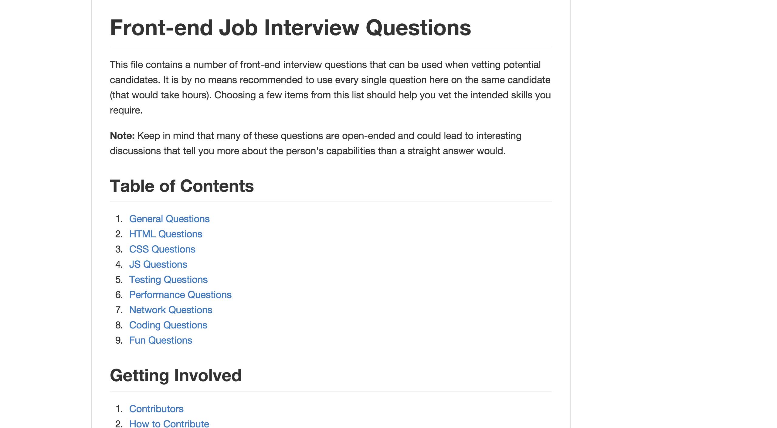 H5bp Front End Developer Interview Questions Interview Questions This Or That Questions Job Interview Questions