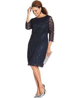 Onyx Plus Size Dress, Three-Quarter-Sleeve Lace Sheath | Lovely ...