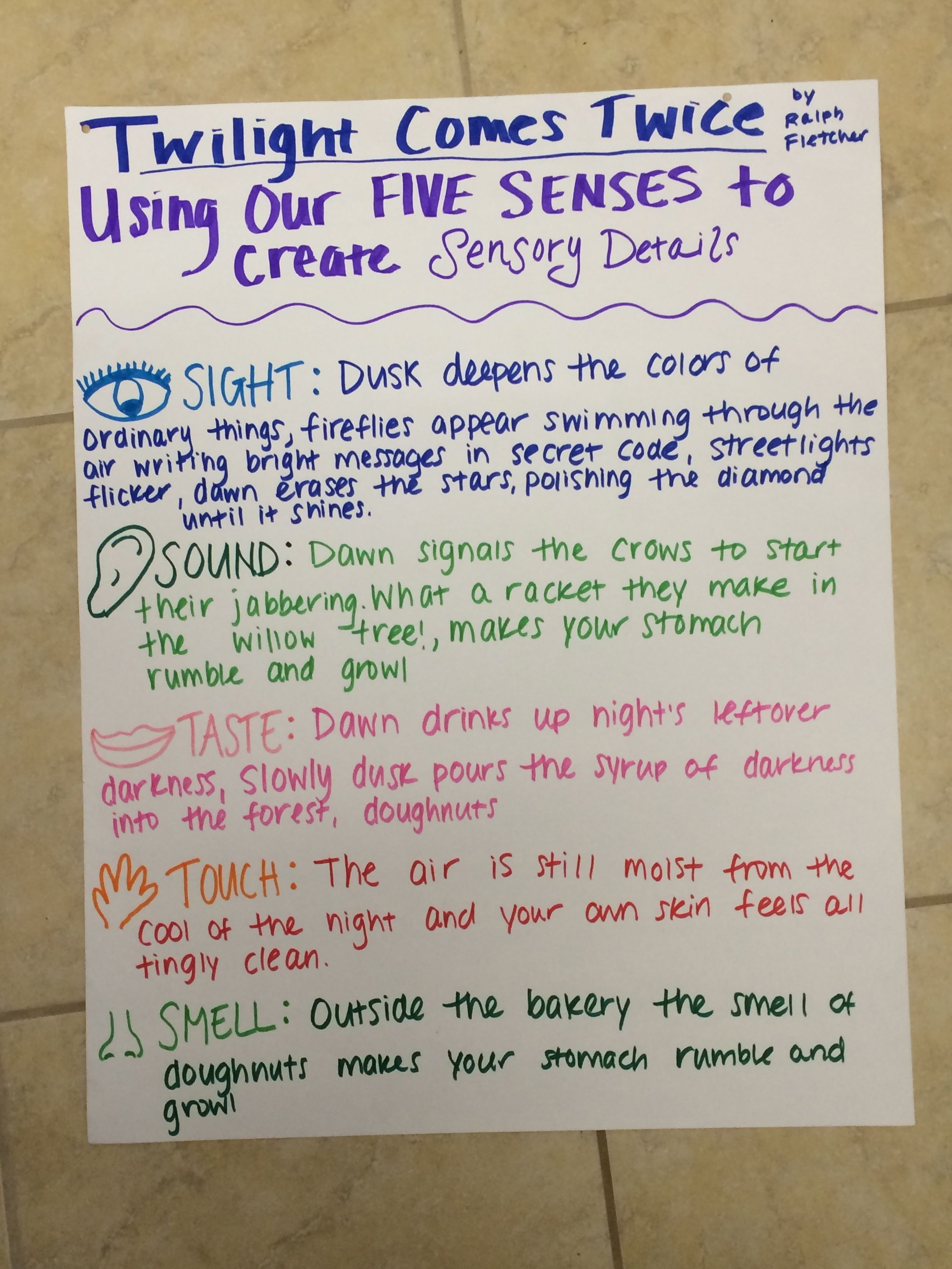 Twilight Comes Twice- Using our Five Senses to Create Sensory Details-  Anchor Chart