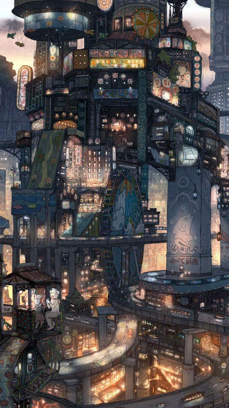 Futuristic City Iphone Wallpaper 10 Futuristic City City Illustration Fantasy Landscape
