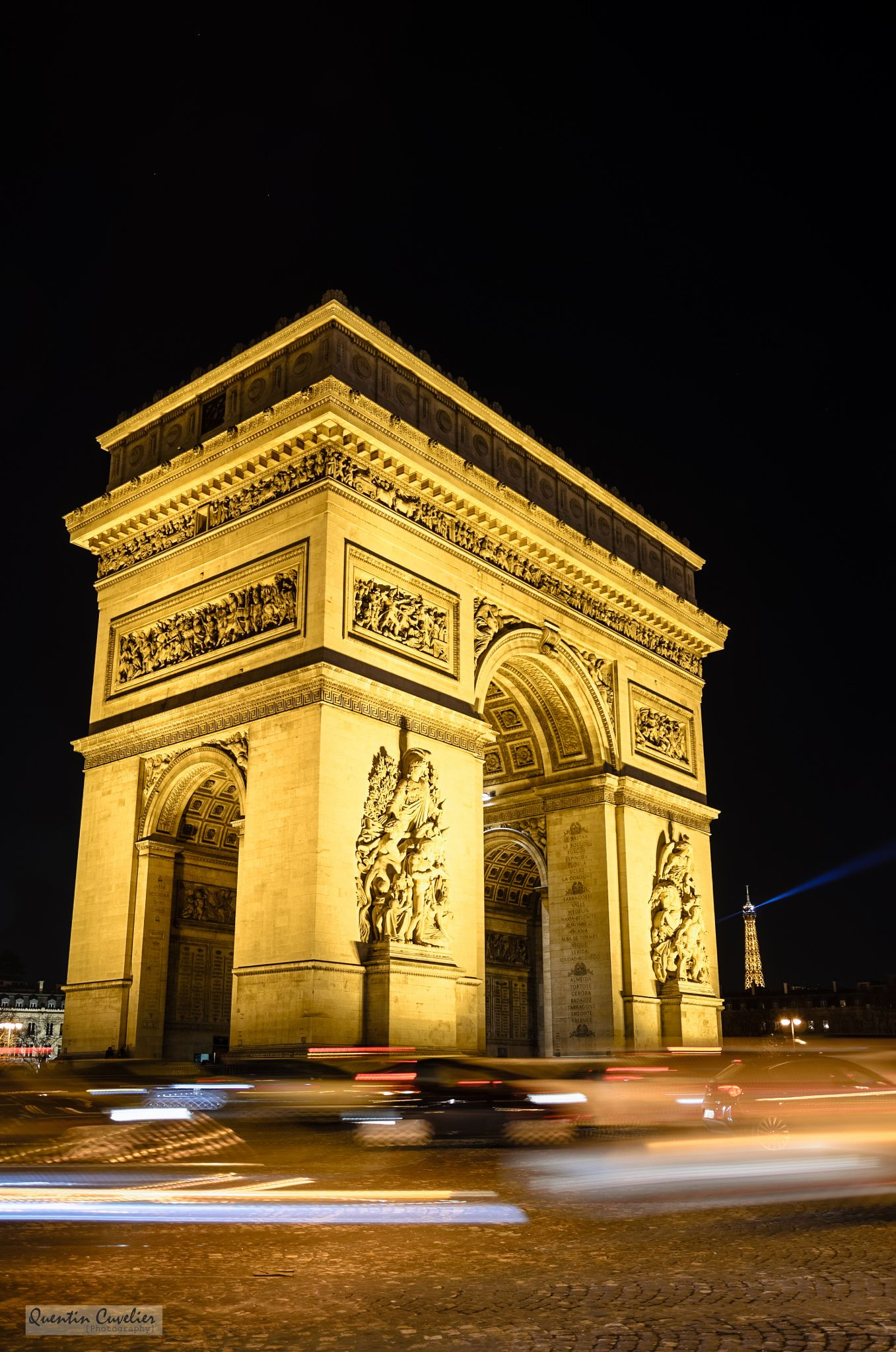 arc de triomphe at night by quentin cuvelier on 500px photography