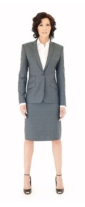 Charcoal gray womens custom made skirt suit | Jacqueline Depaul ...