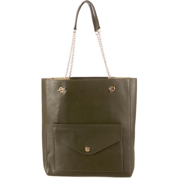 Pre-owned Céline Envelope Pocket Tote ($975) ❤ liked on Polyvore featuring bags, handbags, tote bags, green, leather tote bags, celine tote bag, leather handbags, green tote bag ve celine tote